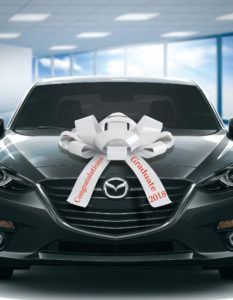 2019 graduation car bow in white and red