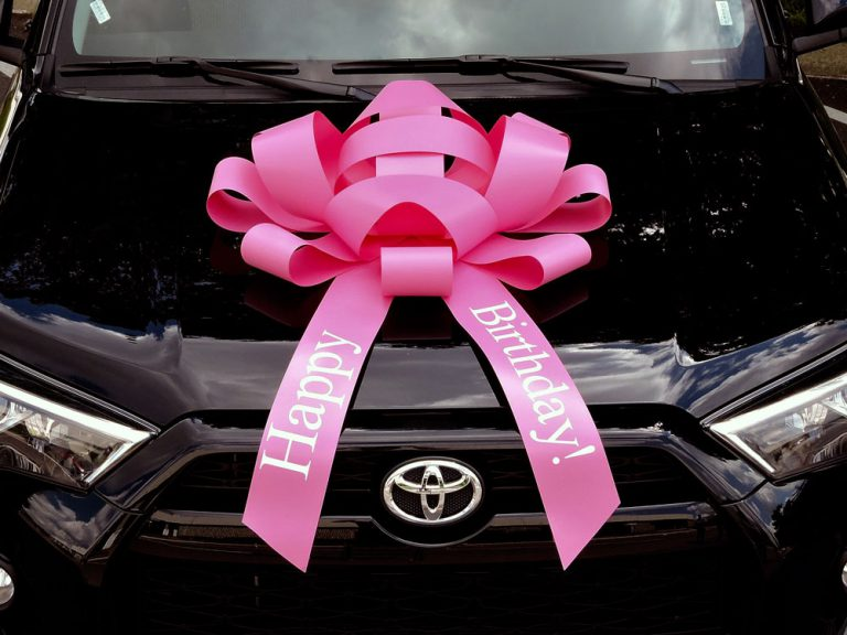 Large Pink Happy Birthday Car Bow