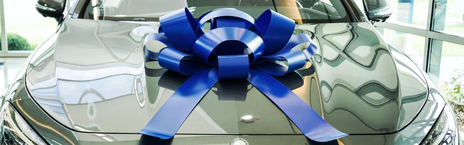 big blue car bow