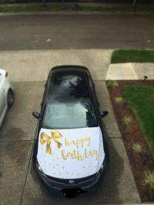happy birthday car bow