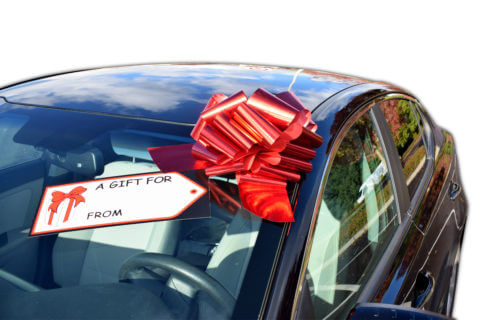 giant car bow ribbon gift tag combo