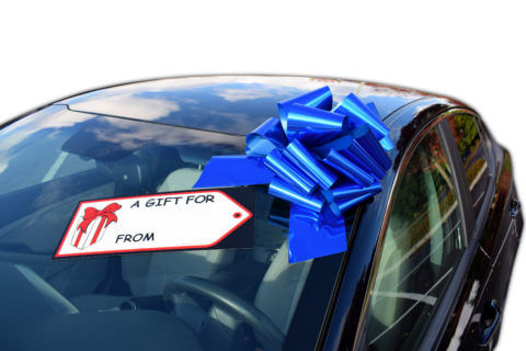 bull car bow with gift tag on windshield