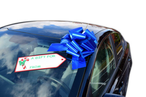 blue car bow with gift tag