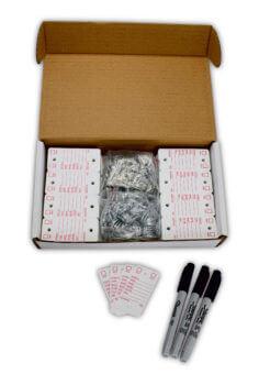 white survivor key tags poly key tags in a box