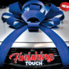 large blue velvet car bow
