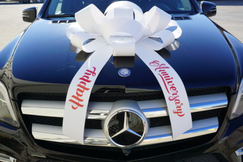 happy anniversary car bow in white