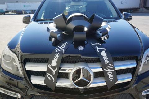 black I love you giant car bow