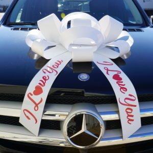 I love you car giant bow in white