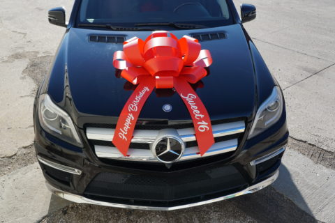 happy anniversary car bow in red