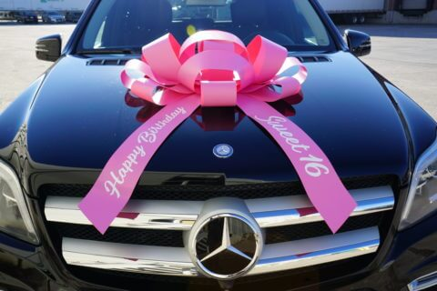 sweet 16 happy birthday car bow in pink