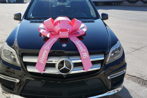pink sweet 16 car bow