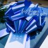 big blue car bow gift bow