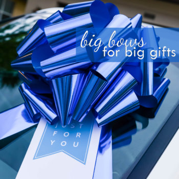 big blue car bow gift bow