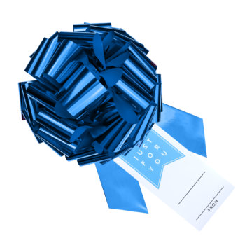 blue bow with gift tag