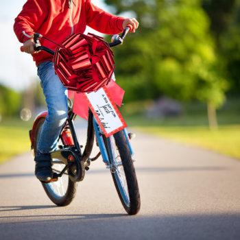 big red bow on a bike