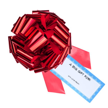 big red bow with a blue gift tag