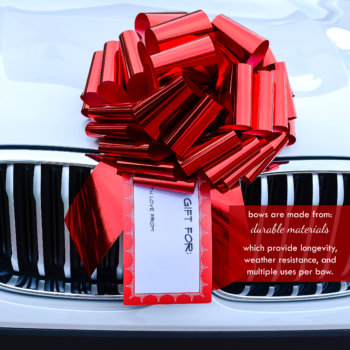 big red bow with a gift tag on a white car