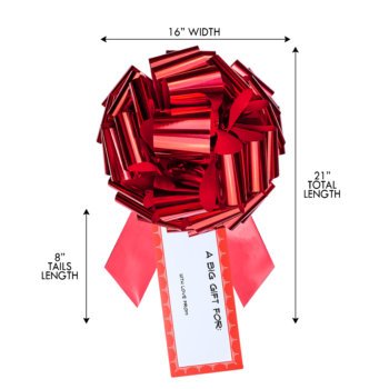 big red bow with gift tag with size