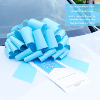teal car bow with a gift tag on a white car